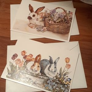 Vintage Pair of Bunny Easter Cards